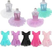 Girls Sequined Ballet Dance Tutu Dress Cotton Gymnastic Leotard Skirt Dancewear