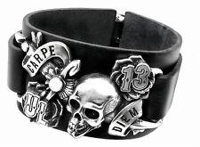 GENUINE Alchemy Gothic Bracelet - Carpe Diem | Men's Leather Skull Wriststrap