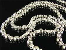 WHITE 1 ROW ROSARY LINK DIAMOND CHAIN NECKLACE 3 CT 34 INCH