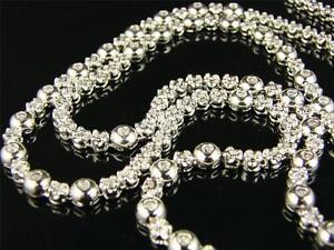Weiß 1 Reihen Rosenkranz Link Diamant Halskette 3 Karat 86.4cm