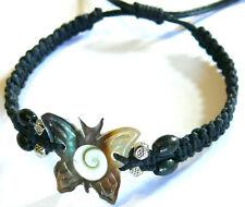 Bracelet Oeil de Sainte Lucie/Shiva Brésilien Cuir Coquillage Papillon Nacre