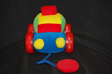 6 X 6 PLUSH INFANTINO BABY PULL CAR COLORFUL RED SQUEAK  STUFFED LOVEY TOY