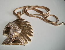 "RED INDIAN CHIEF Warrior GOLD Finish Hip Hop Bling Pendant 36"" FRANCO CHAIN"