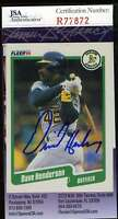 Dave Henderson Jsa Coa Autographed 1990 Fleer Authentic Hand Signed