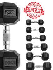Hex Dumbbells Rubber Encased Ergo Hexagonal Weight Set Home Gym Dumbbell Workout