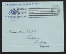Great Britain 1906 Airmail Cover King Edward VII Medical Corps Limbourg Belgium