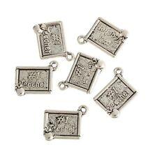10pcs NO.1 Teacher Apple Plaque Beads Tibetan Silver Charms Pendant DIY 14*17mm