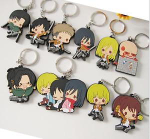 20pcs Anime ATTACK ON PVC Keychain Puppet Key Chain Girls boy Keyring gifts