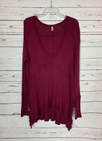 Free People Women's Size S Small Wine Waffle Thermal Long Sleeve Tunic Top Shirt