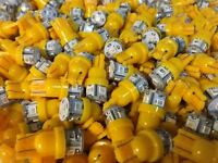 (5)AMBER YELLOW 8V-LED WEDGE BASE/RECEIVER/SX-1280 300mA LAMPS./STEREO/pioneer