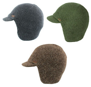 Kusan 100% Fleece Lined Peaked Cap with Ear Neck Warmer 3 Colours