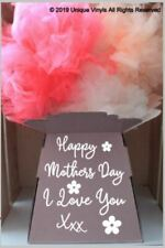 Flower Box Sticker, Bouquet Box Sticker, Aqua Pack, Happy Mother's Day/Birthday
