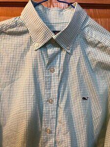 Men's Vineyard Vines soft green check print classic fit whale shirt button up si