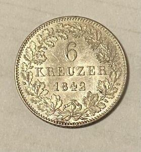 6 Kreuzer 1842 Schwarzburg Rudolstadt Silber In Megaerhaltung!