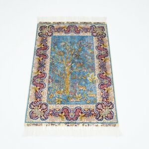Small 2x3ft Handmade Silk Carpet Tree Of Life Tapestry handcraft Area Rug Y192A