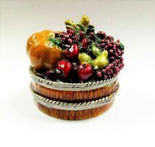 Fruit Basket Gift Trinket Box Jewelry Thanksgiving Holiday Pumpkin Apple Grape