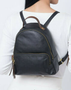 NWT Fossil Felicity Backpack Black Leather SHB2101001 Brass Hardware $168 Ret FS