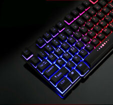 Colorful Crack LED Illuminated Backlit USB Wired PC Rainbow Gaming Keyboard Hot