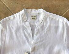 Murano Linen Shirt Mandarin Collar White Men Big & Tall 3XLT Button Down NWT $89