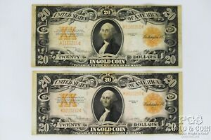 2 1922 $20 Gold Certificates FR-1187 US Large Notes 2 US Currency Notes 21092