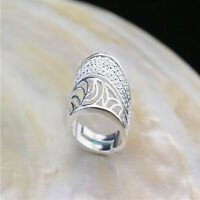 Wholesale 925 Sterling Silver Plated Women Fashion Wide Face Rings SIZE Open NEW
