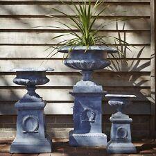 48cm Faux Lead Cast Iron Classic Shallow Urn Planter on Plinth/Flower Pot