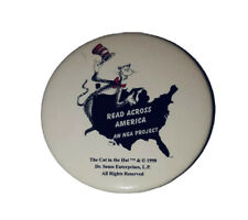 "Vintage 1998 Dr Seuss Cat in the Hat 2.5"" Pinback Button Read Across America"