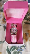 NEW Hello Kitty Silver Dial Pink Leather Strap Ladies Girls Watch with Charms