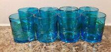 Blue hand blown 12 oz.glasses Set of 8 Blue/Green