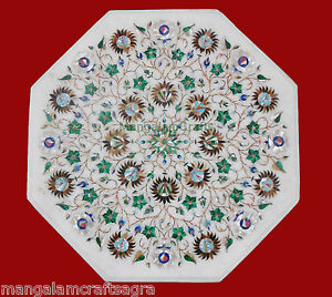 """18"""" Marble Side End Table Top Semi Precious Stones Floral Inlay"""