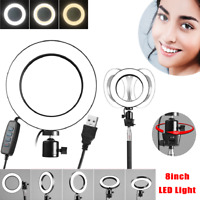 8'' LED USB 5500K Dimmable Studio Camera Ring Light Photo Phone Video Makeup
