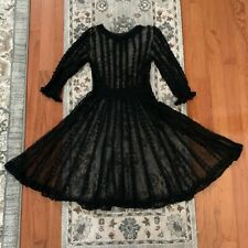 VINTAGE BLACK LACE VICTORIAN STYLE DRESS BUTTON UP BACK  - SIZE MEDIUM