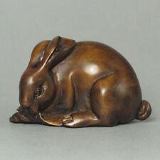 "1940's Japanese Master handmade Boxwood Netsuke ""RABBIT"" Figurine Carving TZ04"
