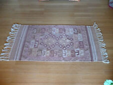 "ZAPOTEC Indian Weaving/Rug 100% Wool  80"" X 41"" Brown & Pink tones"