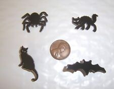 HALLOWEEN NOVELTY PINS LOT / 4 - SPIDER, STALKING CAT, SITTING CAT, BAT - NEW