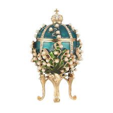 Faberge Egg Trinket Jewel Box Russian Emperor's Crown & Flowers 3.2'' light blue