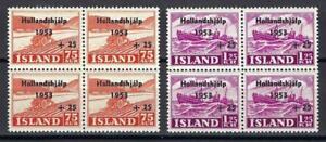 Iceland 1953 Sc# B12-13 set Ship flood relief in Netherlands blocks 4 MNH CV $40