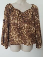 Norton McNaughton Brown Animal Print Long Bell Sleeve Lace Top Blouse Size 14