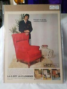 1972 magazine ad for La-Z-Boy chairs - football player Joe Namath & Lounger RARE