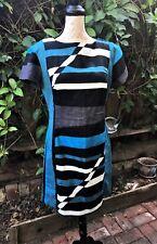 NWT! $75 DEREK LAM for DESIGN NATION DRESS COLORBLOCK BLUE/BLACK LINEN/COTTON 12
