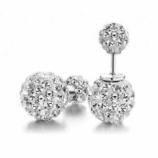 Women Silver plated Double Crystal Ball Ear stud Earrings Jewelry Sliver ^G