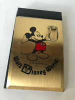 Vintage Walt Disney World Gold Metal Ppaer Notepad Mickey Mouse 5.25""
