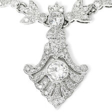 Floral Diamond Pendant Necklace with Milgrain in 18kt White Gold 4.20ctw