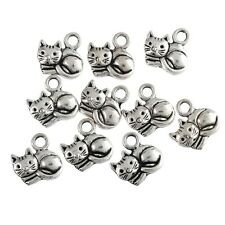 10pcs 14*15mm DIY Fat Cute Cats Beads Tibetan Silver Charms Pendant Fit Bracelet