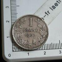 I08409 1 franc belge 1909 pièce de monnaie argent silver coin leopold II royale
