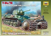 Zvezda Models 1/35 Soviet Medium Tank with Mine Roller T-34/76