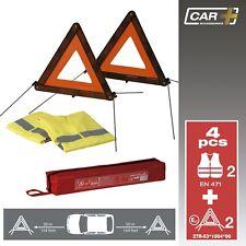 Sumex 2 x warning triangle & 2 High Vis Vests Emergency BREAKDOWN CAR Travel Kit