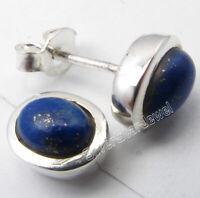 "Oval Cabochon Lapis Lazuli Studs Earrings 0.4"" Fashion Jewelry 925 Pure Silver"