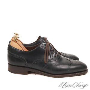#1 MENSWEAR Carrmina Mallorca Navy Blue Shell Cordovan Wingtip Shoes + TREES 8.5