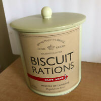 English Biscuit Barrel Tin Cookie Jar Storage Canister Green Retro Dads Army